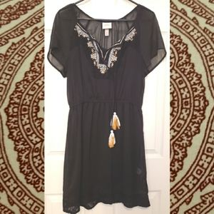 Knox Rose Embroidered Black Boho Mini Dress
